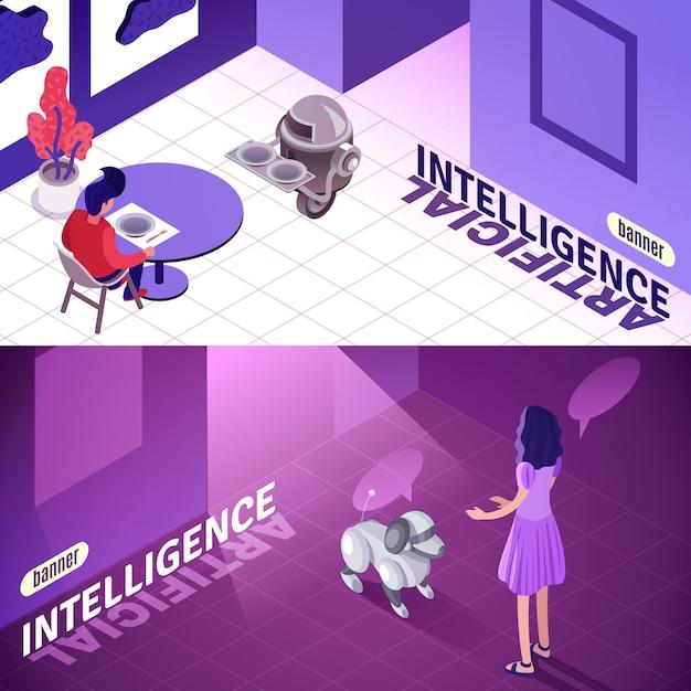 Isometrische banners voor kunstmatige intelligentie Gratis Vector
