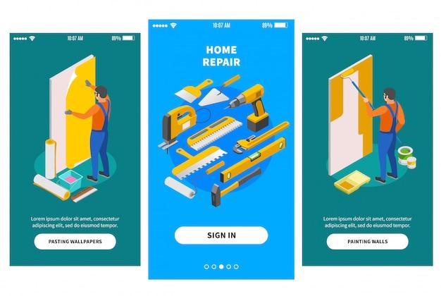 Isometrische banners voor thuisreparatie voor mobiel appontwerp die bedrijven aanbieden die zich bezighouden met reparatiewerkzaamheden Gratis Vector