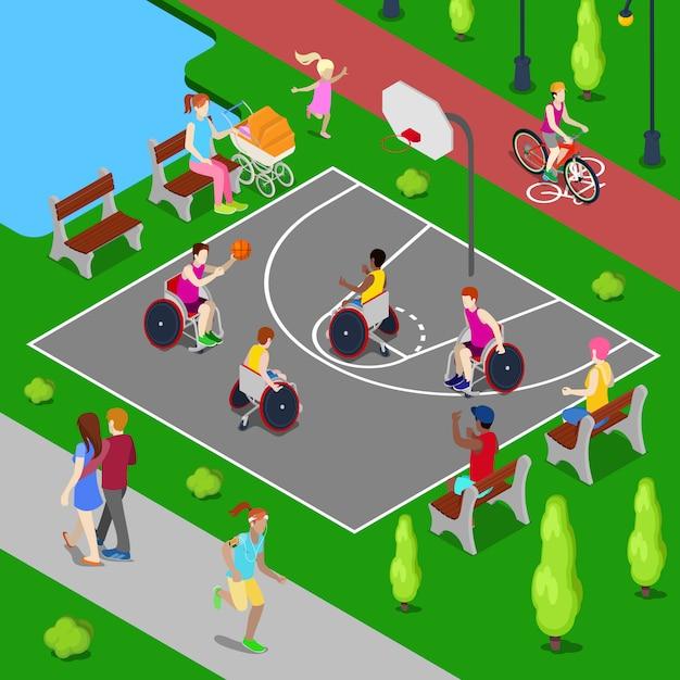 Isometrische basketbalspeelplaats. mensen met een handicap spelen basketbal in het park. vector illustratie Premium Vector