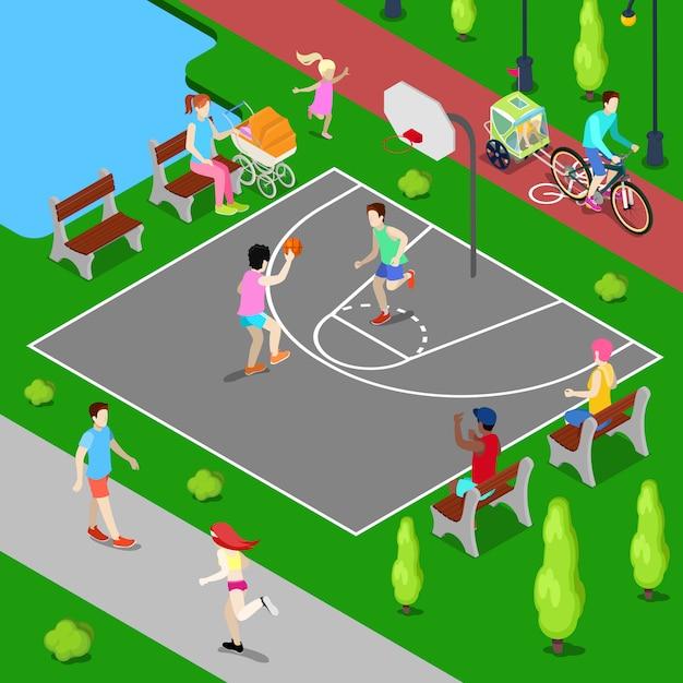 Isometrische basketbalspeelplaats. sportieve mensen spelen basketbal in het park. Premium Vector