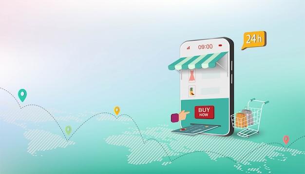 Isometrische bedrijfsconcept met online winkelen op website of mobiele applicatie Premium Vector