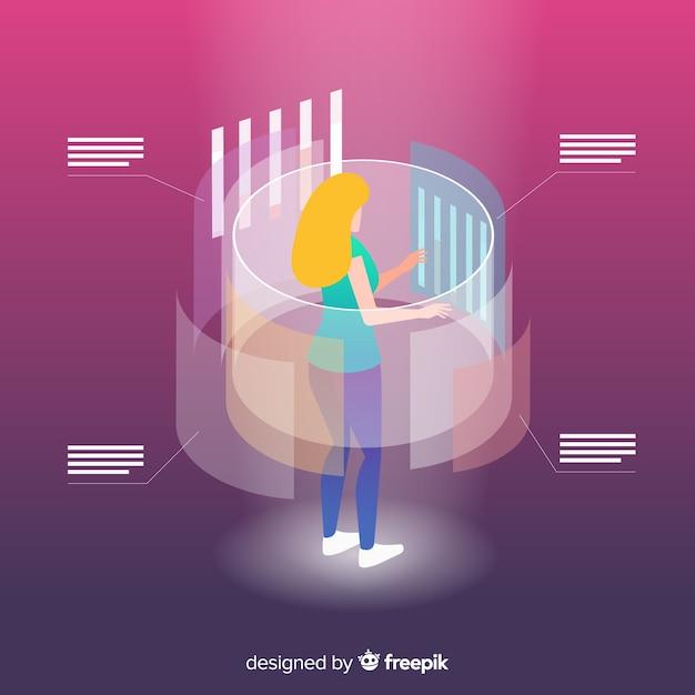 Isometrische bedrijfstechnologie met vrouw op projectiescherm Gratis Vector