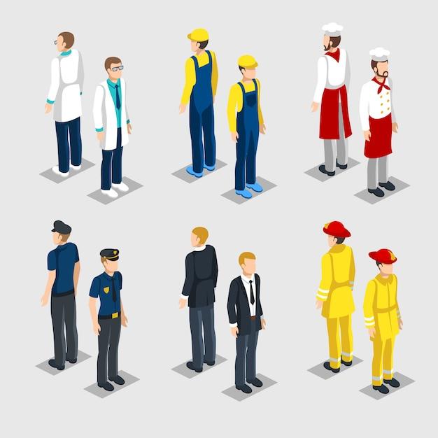 Isometrische beroepen collectie Gratis Vector