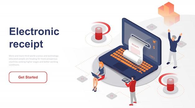 Isometrische bestemmingspagina elektronische bon of factuur Premium Vector