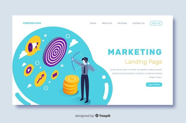 Isometrische bestemmingspagina met marketingstrategie Gratis Vector
