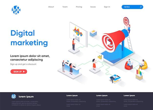 Isometrische bestemmingspagina-sjabloon voor digitale marketing Premium Vector