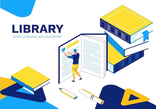 Isometrische bestemmingspagina van bibliotheek Premium Vector