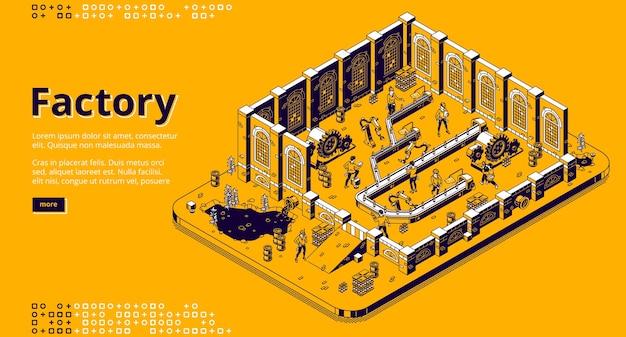 Isometrische bestemmingspagina van de fabriek, mensen werken aan de assemblagelijn, arbeiders op de transportband met cyborgs-armen en flessenproductie. automatiseringsproces, natuurvervuiling, 3d-vector lijntekeningen webbanner Gratis Vector