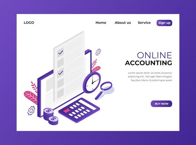 Isometrische bestemmingspagina van online boekhouding Premium Vector