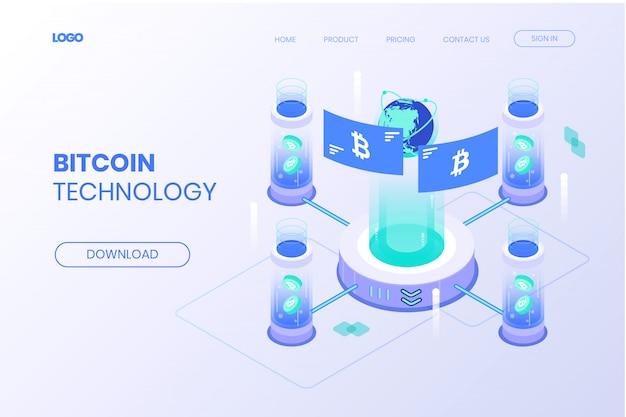 Isometrische bestemmingspagina voor bitcoin-technologie Premium Vector