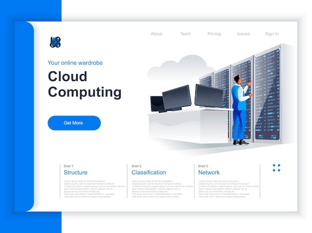 Isometrische bestemmingspagina voor cloud computing. it-specialist in de buurt van server rack in datacentersituatie hostingplatform hardware technologie, data structurering en classificatie perspectief plat ontwerp. Premium Vector