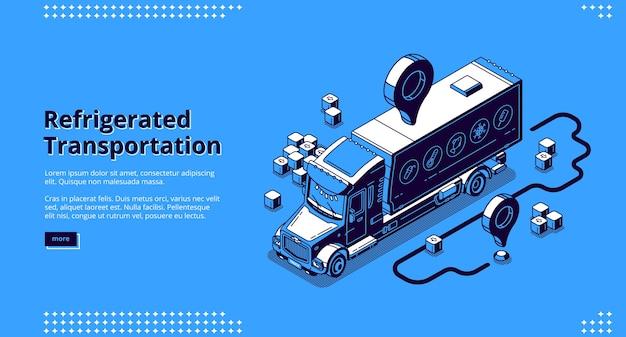 Isometrische bestemmingspagina voor gekoeld transport, bezorgservice voor vrachtwagens. Gratis Vector