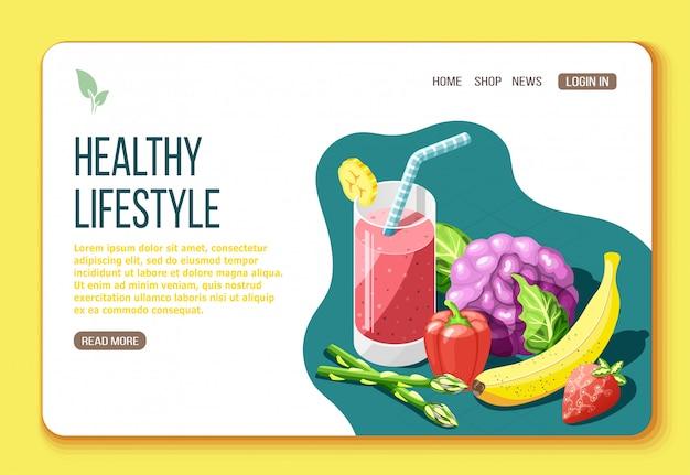 Isometrische bestemmingspagina voor gezonde levensstijl met tekst en visuele informatie over voedingsmiddelen die nuttig zijn voor lichaamsillustratie Gratis Vector