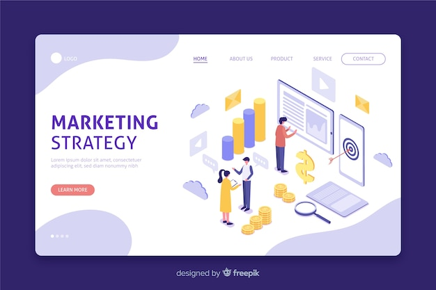 Isometrische bestemmingspagina voor marketingstrategie Gratis Vector