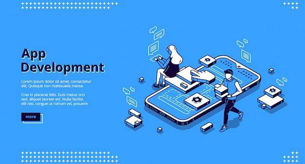 Isometrische bestemmingspagina voor ontwikkeling van mobiele apps Gratis Vector