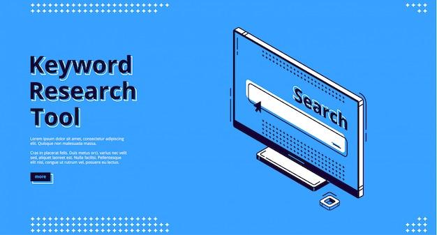 Isometrische bestemmingspagina voor zoekwoordonderzoek. Gratis Vector