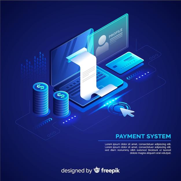 Isometrische betalingssysteemachtergrond Gratis Vector