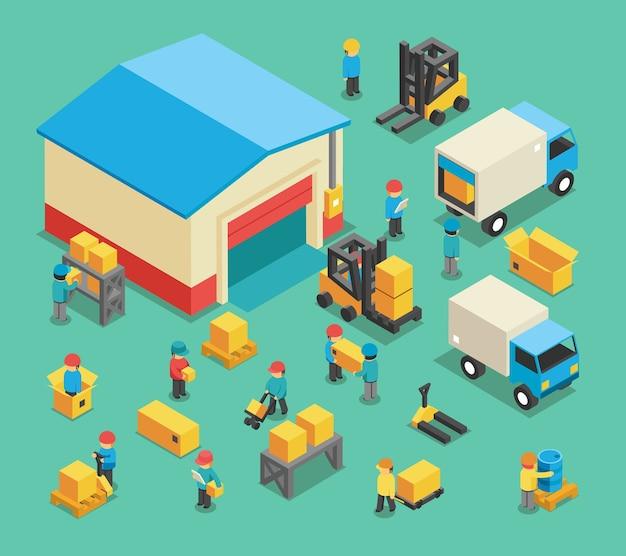 Isometrische bewegende vracht- en magazijnmedewerkers. magazijnopslag, transportlogistiek, pakhuisindustrie en uitrusting. warehousing en warehousing werknemers vector illustratie Gratis Vector