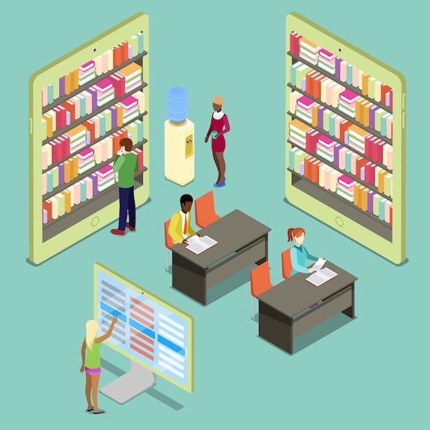 Isometrische bibliotheek met boekenkasten en mensen lezen Premium Vector
