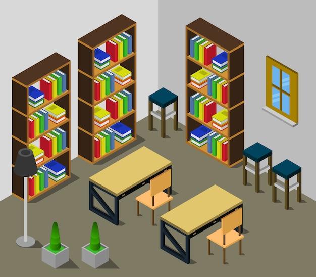 Isometrische bibliotheekkamer Premium Vector