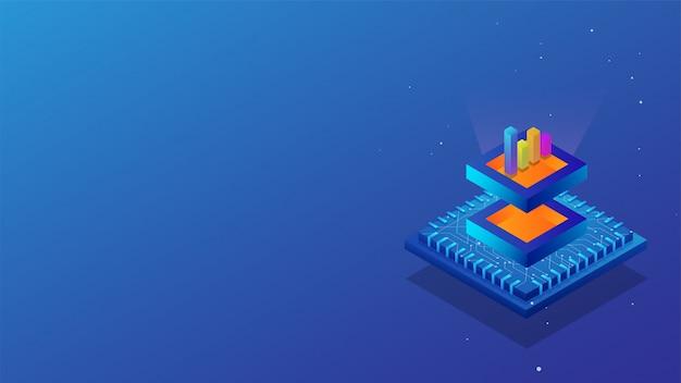 Isometrische big data-opslag of data-analyse concept. Premium Vector