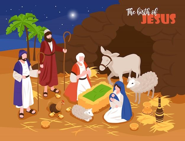 Isometrische bijbelverhalen kerstmis kerststal concept banner samenstelling met outdoor samenstelling en menselijke personages met sheeps Gratis Vector
