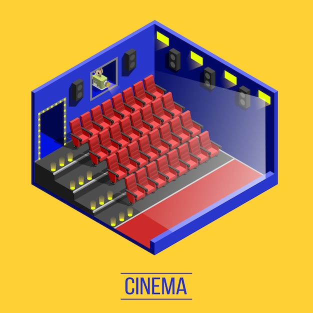 Isometrische bioscoop Gratis Vector