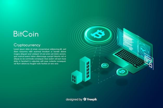 Isometrische bitcoin achtergrond Gratis Vector