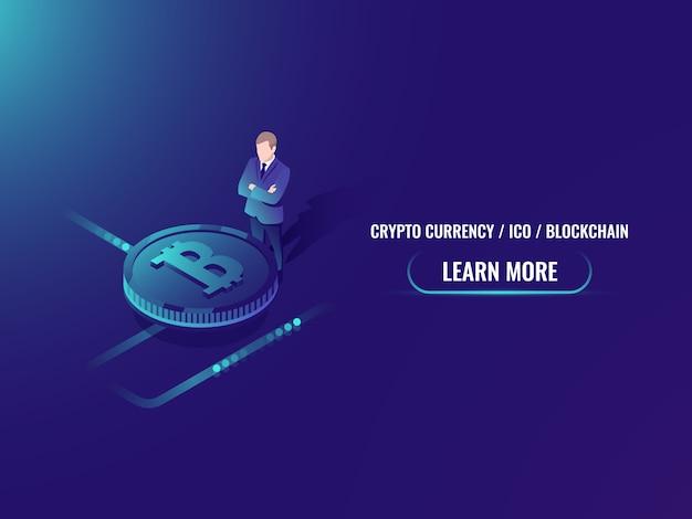 Isometrische bitcoin-investering en mijnbouw, cryptocurrency koop webpagina Gratis Vector