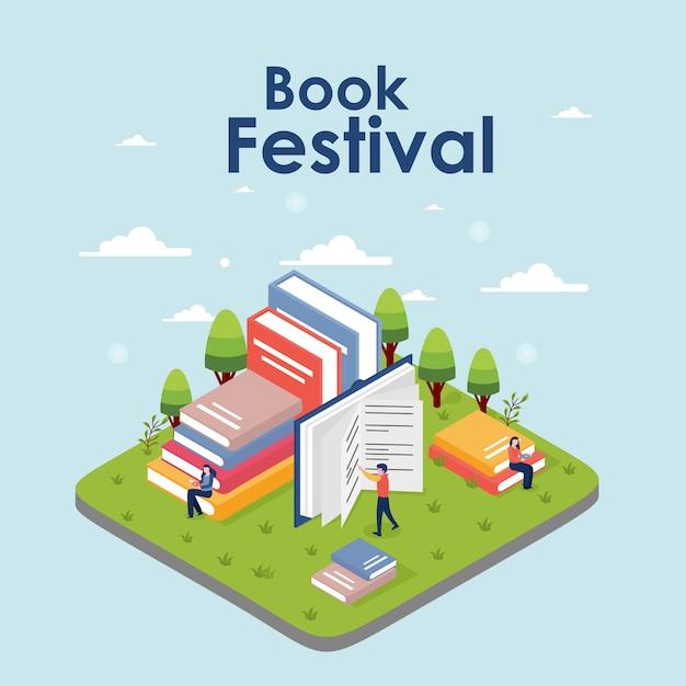 Isometrische boek festival concept van een kleine mensen lezen van een boek Premium Vector