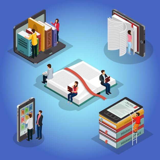 Isometrische boeken die samenstelling met mensen en educatieve literatuur e-boeklezer elektronische bibliotheek op geïsoleerde telefoonlaptop lezen Gratis Vector