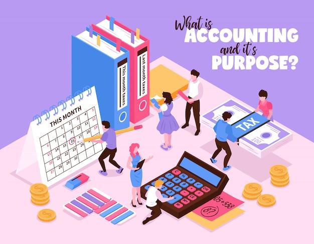 Isometrische boekhoudkundige samenstelling met kleine menselijke personages en organisatorelementen van de rekenmachine van de werkruimtekalender en boeken vectorillustratie Gratis Vector