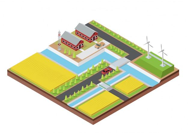 Isometrische boerderij met gebouw Premium Vector