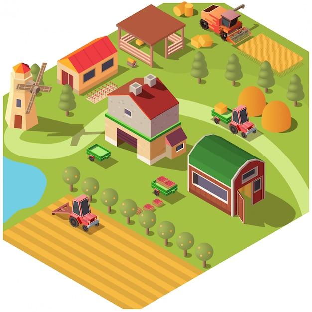 Isometrische boerderij of boerderij tuin met bijgebouwen Gratis Vector