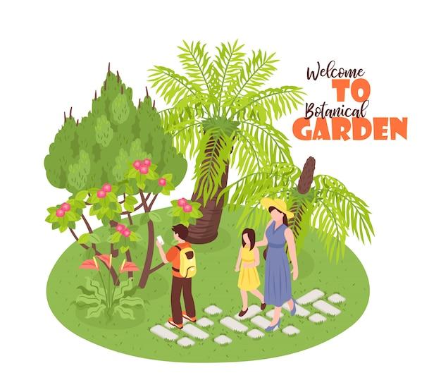 Isometrische botanische tuin met uitzicht op wild natuurpark lopen menselijke personages en sierlijke tekst Gratis Vector