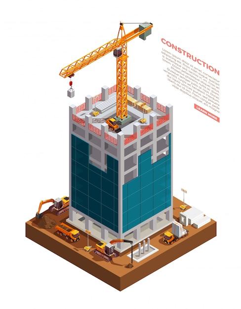 Isometrische bouwconstructie Gratis Vector