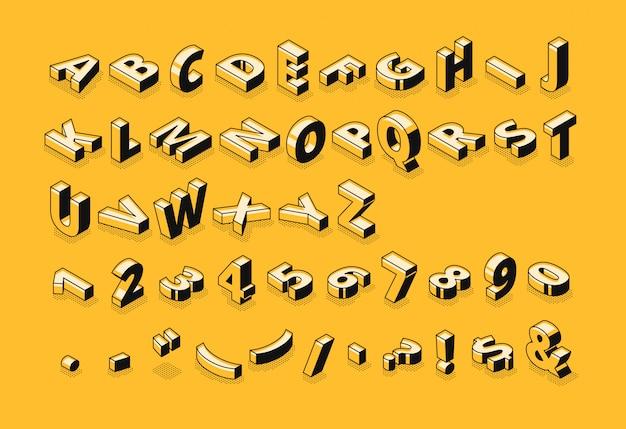 Isometrische brieven halftone doopvontillustratie van het dunne abstracte alfabet van het lijnbeeldverhaal Gratis Vector