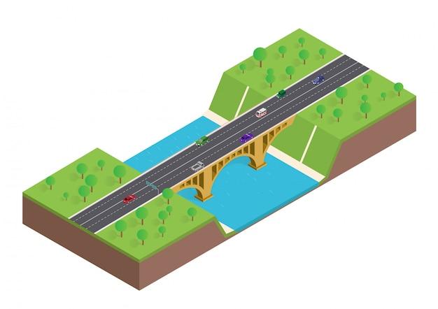 Isometrische brug over de rivier met auto en bomen Premium Vector