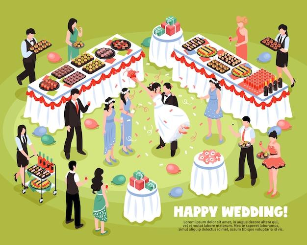 Isometrische bruiloft achtergrond Gratis Vector