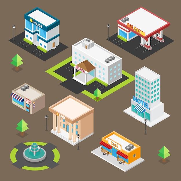 Isometrische building icon set voor aangepaste kaart Premium Vector