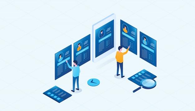 Isometrische business team onderzoek mensen profiel voor baan huren concept Premium Vector