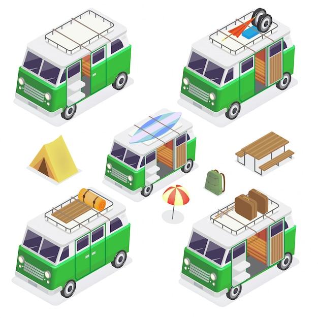 Isometrische camper set vans Premium Vector