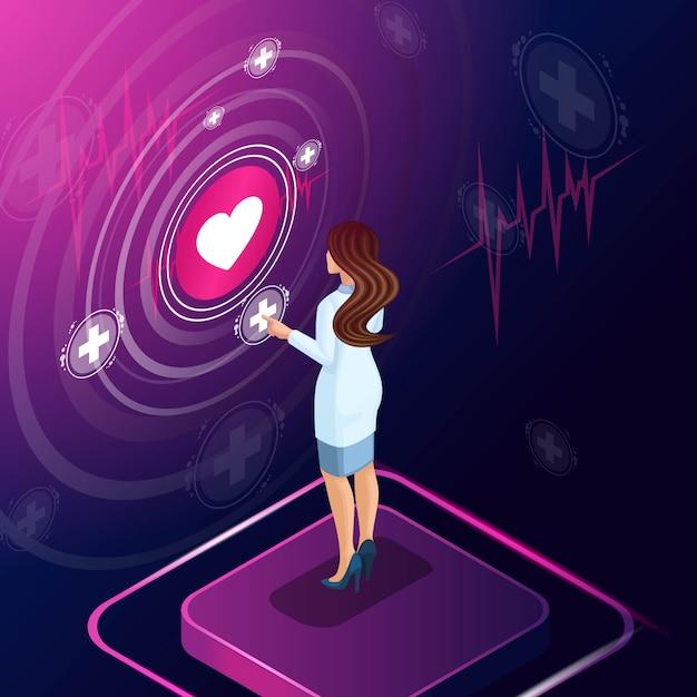 Isometrische cardioloog diagnosticeert een ziekte, schrijft een medicijn voor behandeling voor, bewaakt de ontwikkeling van de behandeling, beoordeelt, werkt met hightech-technologieën Premium Vector