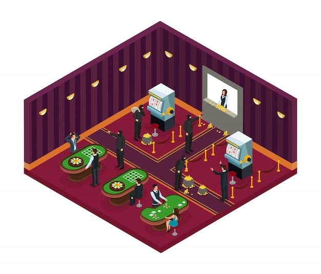 Isometrische casino-overval concept Gratis Vector