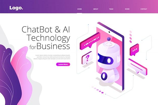 Isometrische chatbot-technologie Premium Vector