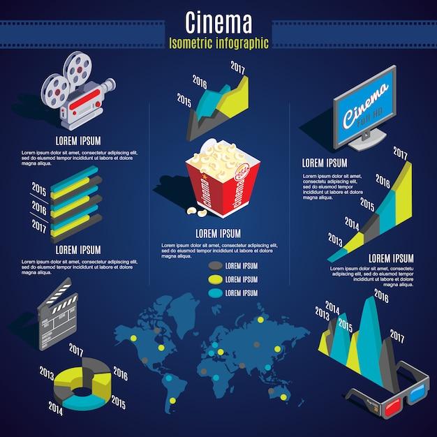 Isometrische cinema infographic-sjabloon Gratis Vector