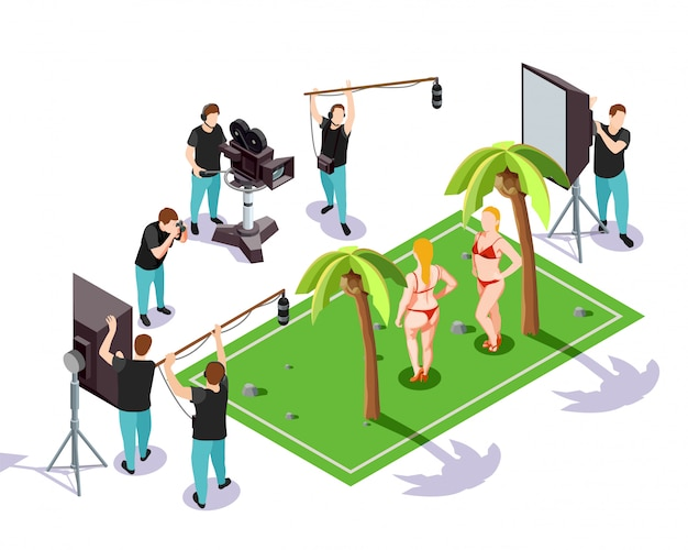 Isometrische cinematograaf illustratie Gratis Vector