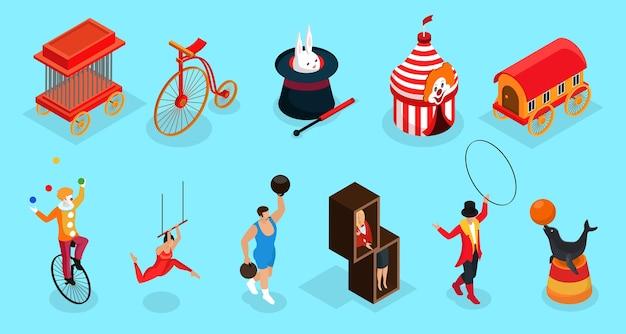 Isometrische circus elementen collectie met kooi fiets getrainde dieren trucs selectiekader aanhangwagen clown acrobaat trainer illusionist geïsoleerd Gratis Vector