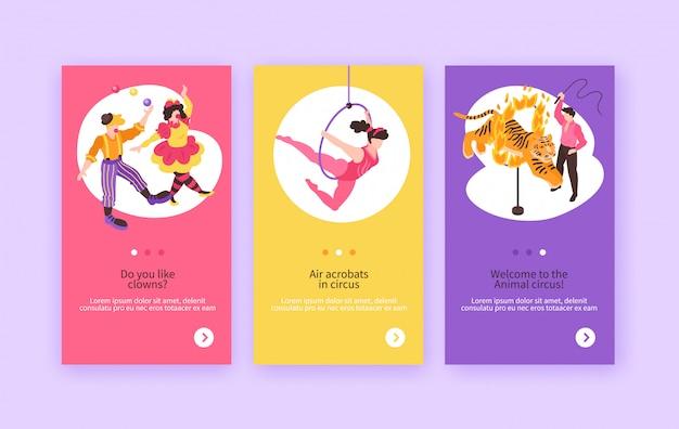 Isometrische circusartiesten tonen banners collectie met composities van menselijke personages Gratis Vector
