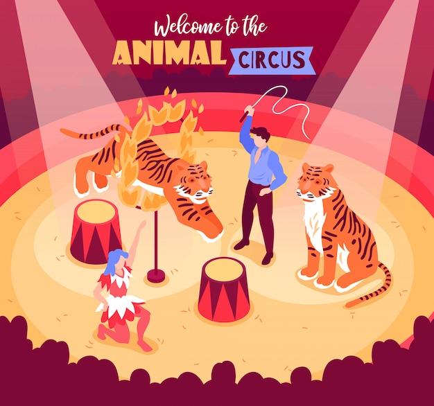 Isometrische circusartiesten tonen compositie met dieren en artiesten op arena met publiek Gratis Vector